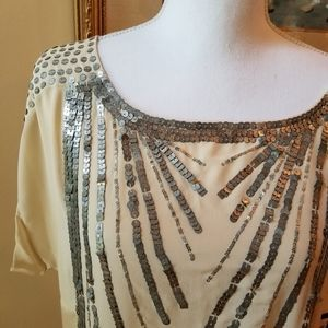 Nanette Lepore Silk Embellished Sequined Top